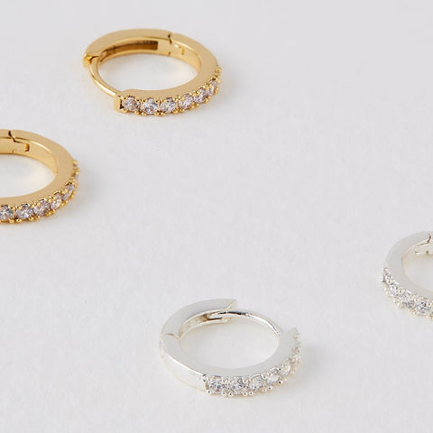 Pave Set Hoop Earrings with White CZ