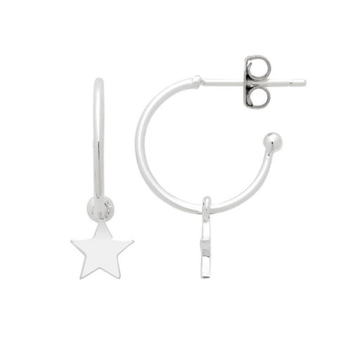 Star Drop Hoop Earrings - Silver Plated