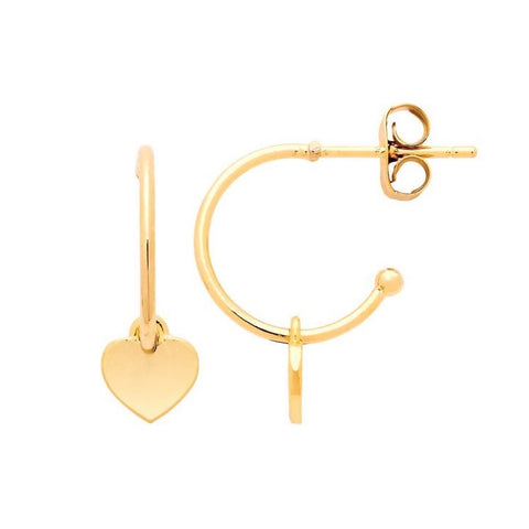 Heart Drop Hoop Earrings - Gold Plated