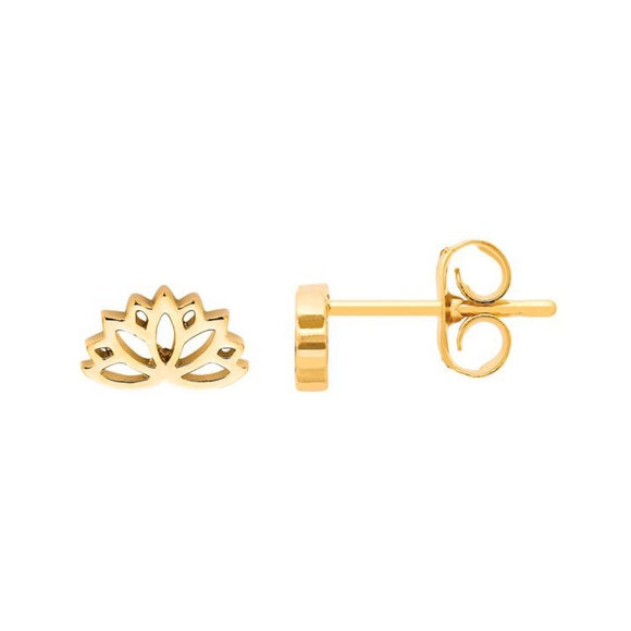 Lotus Stud Earrings - Gold Plated