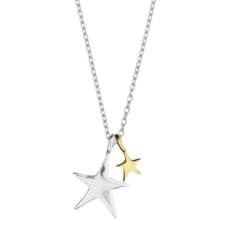 Double Star Siver & Gold Necklace