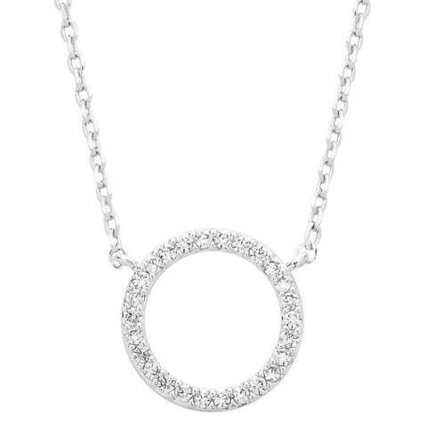 Pave Cubic Zirconia Silver Circle Necklace