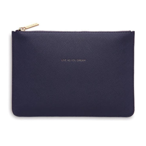 "Navy ""Live as You Dream"" Medium Pouch"