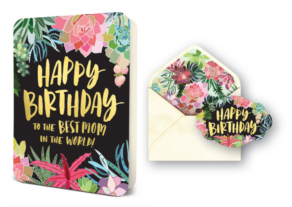 Deluxe Best Mom Succulents Birthday Card