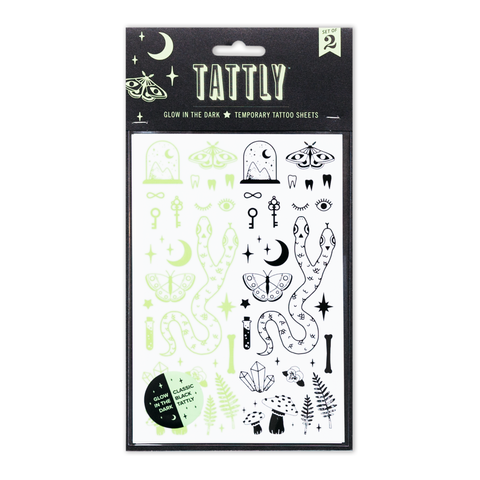 Curiosities Glow in the Dark Temporary Tattoo Set