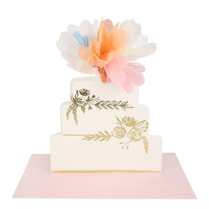 Floral Wedding Cake Stand Up Card