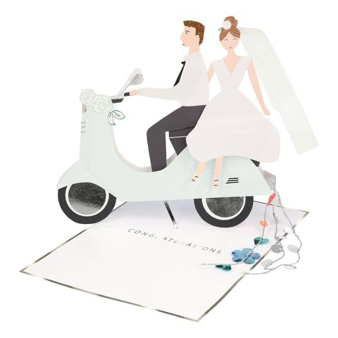 Scooter Wedding Couple Stand Up Card