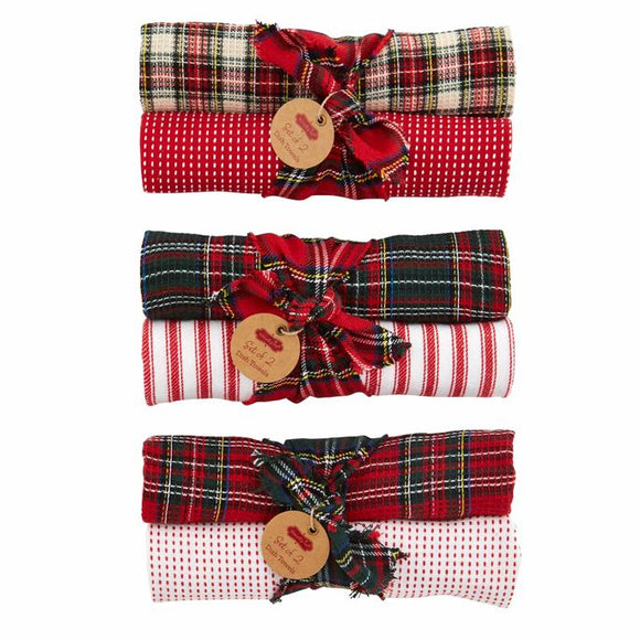 Holiday Plaid Waffle Towel Gift Set