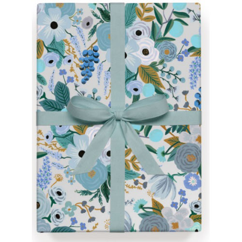Garden Party Blue Gift Wrap Roll