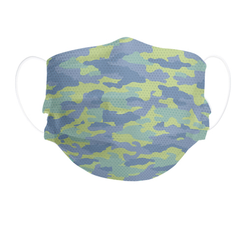 Blue Camo Kid's Disposable 3-Layer Face Masks, Set of 7
