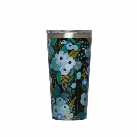 Corkcicle x Rifle Paper Tumbler - 16oz. Garden Party Blue