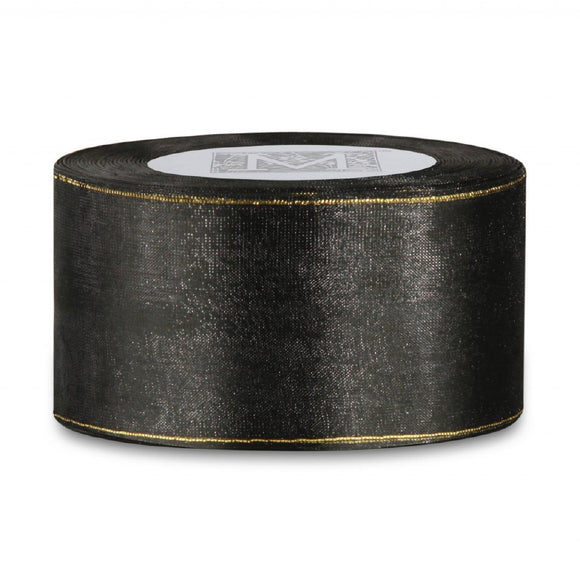 Black/Gold Edged Organdy Ribbon BTY