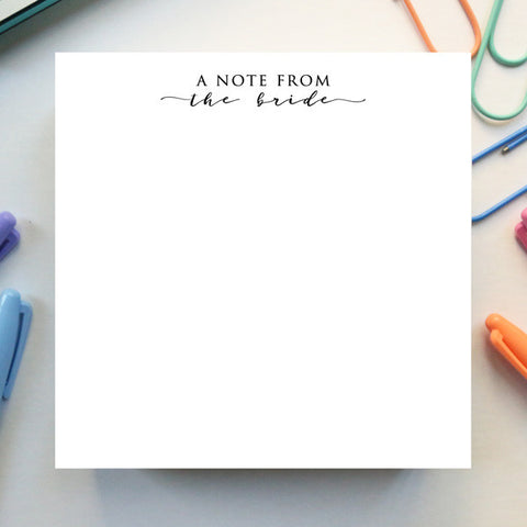 'A Note From The Bride' Notepad