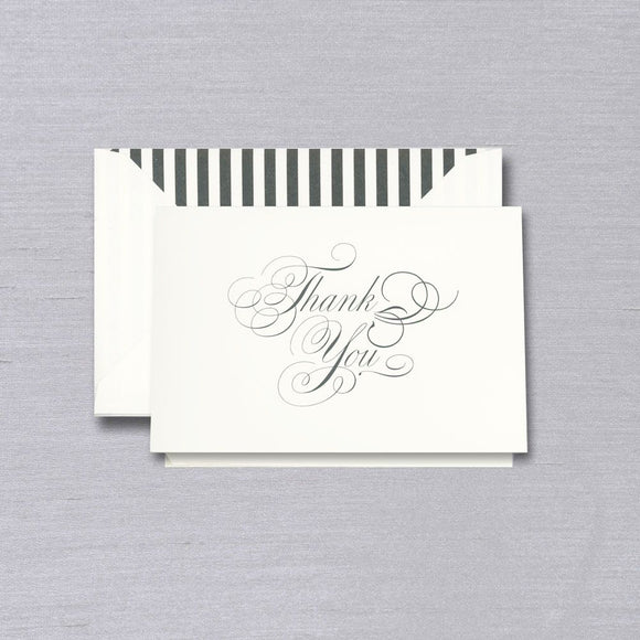 Vera Wang Engraved Black & White Thank You Notes