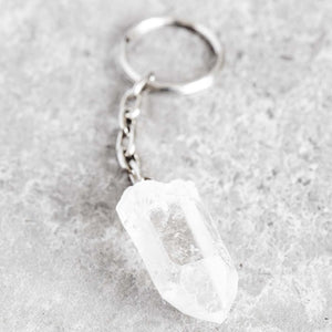 Crystal Quartz Point Keychain