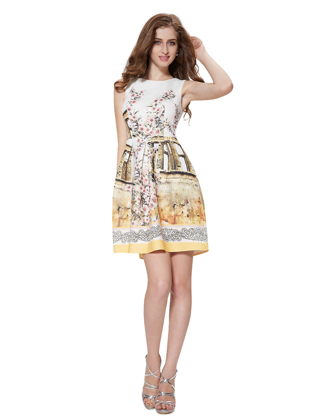 Neckline Printed Ruched Short Casual Dress