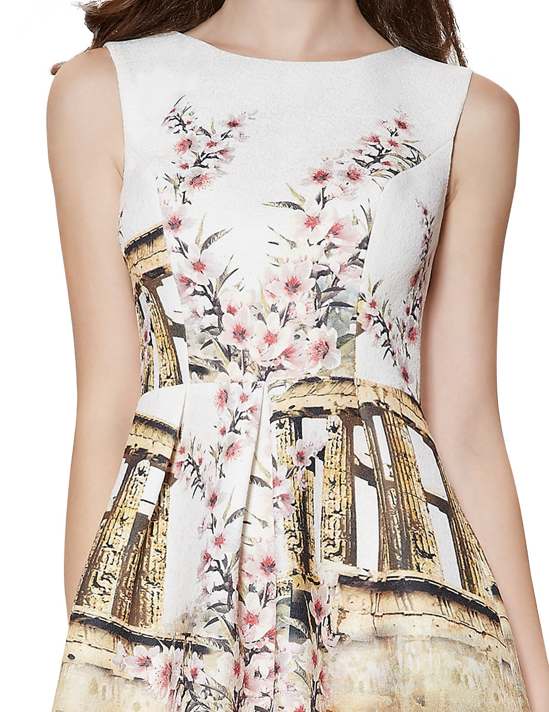 Neckline Printed Ruched Short Casual Dress - O'beige
