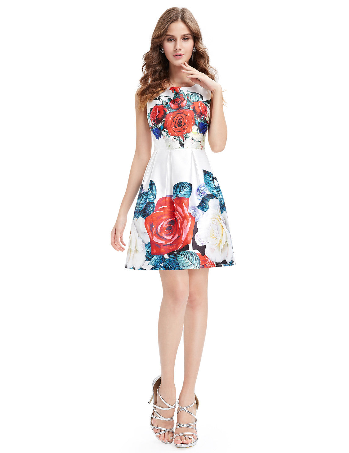 Printed Floral Round Neck Short Casual Dress