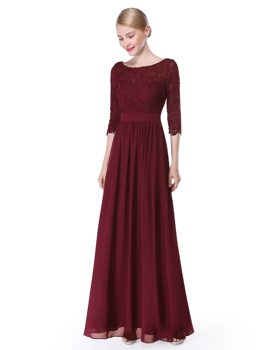 Obeige Elegant Burgundy 3/4 Sleeve Lace Long Evening Dress