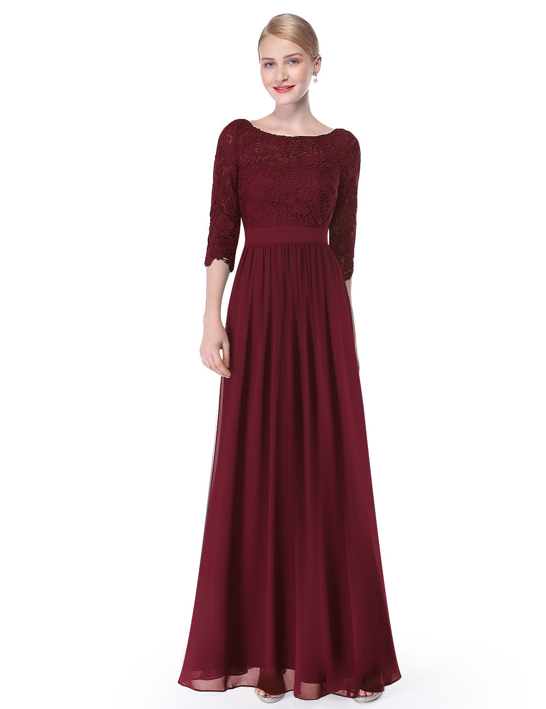 Obeige Elegant Burgundy 3/4 Sleeve Lace Long Evening Dress - O'beige