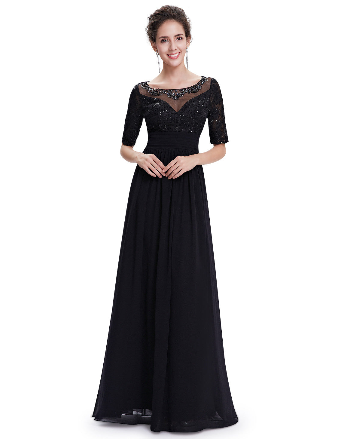 Elegant Long Black Evening Sleeved Dress