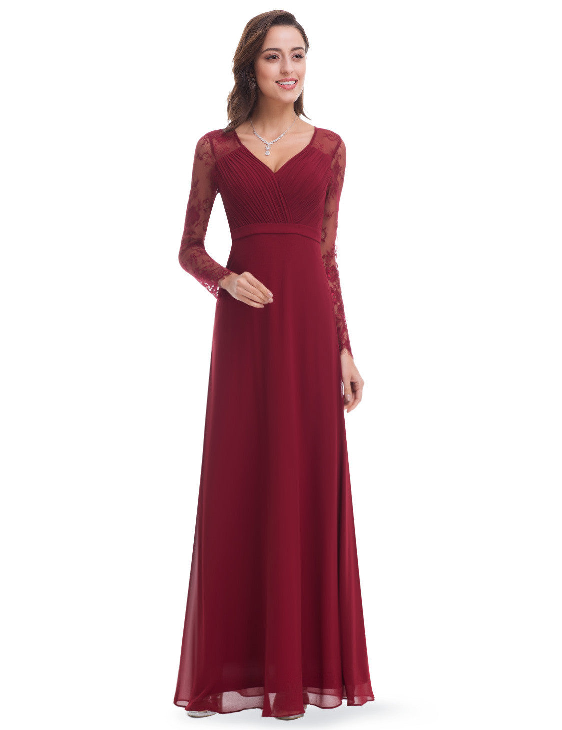 Obeige Burgundy Elegant V-neck Long Sleeve Evening Dress