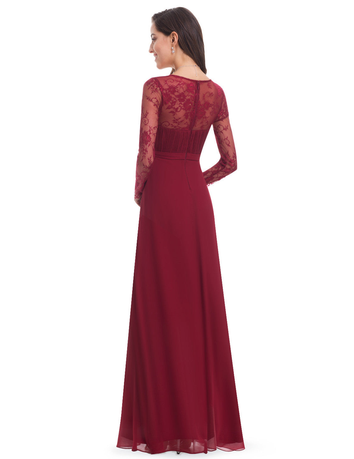 Obeige Burgundy Elegant V-neck Long Sleeve Evening Dress - O'beige