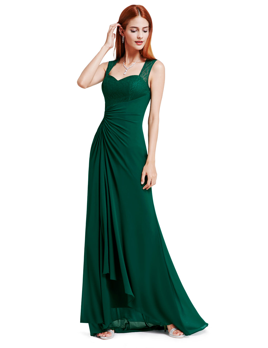 Obeige Elegant Green Sleeveless Long Evening Party Dress