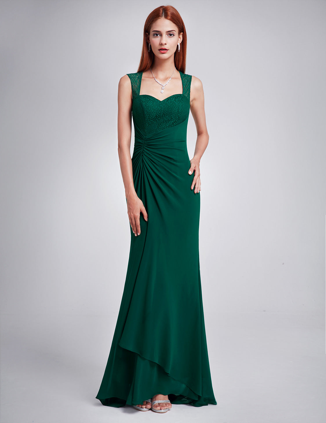 Obeige Elegant Green Sleeveless Long Evening Party Dress - O'beige