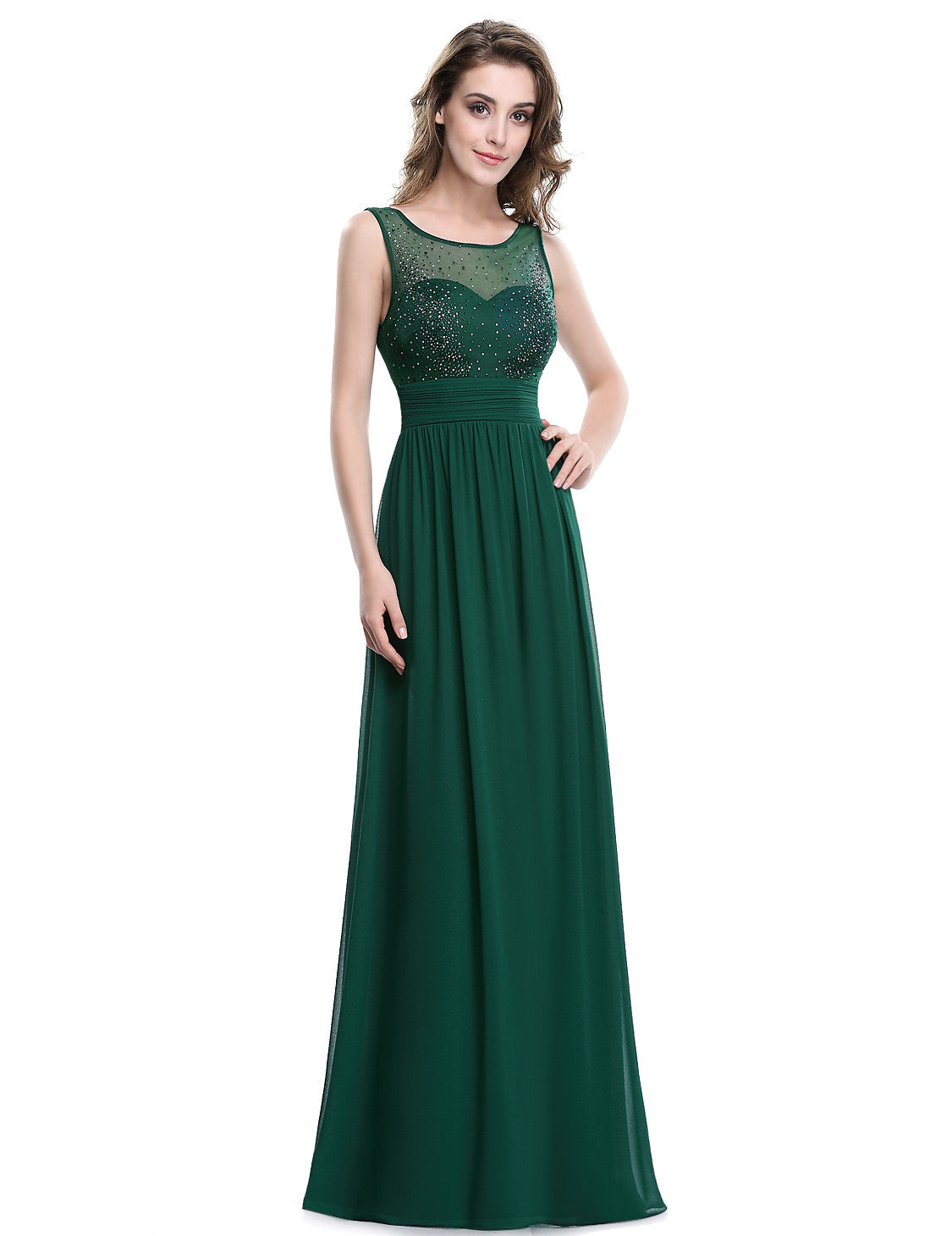 Obeige Women's Elegant Green Sleeveless Long Evening Dress