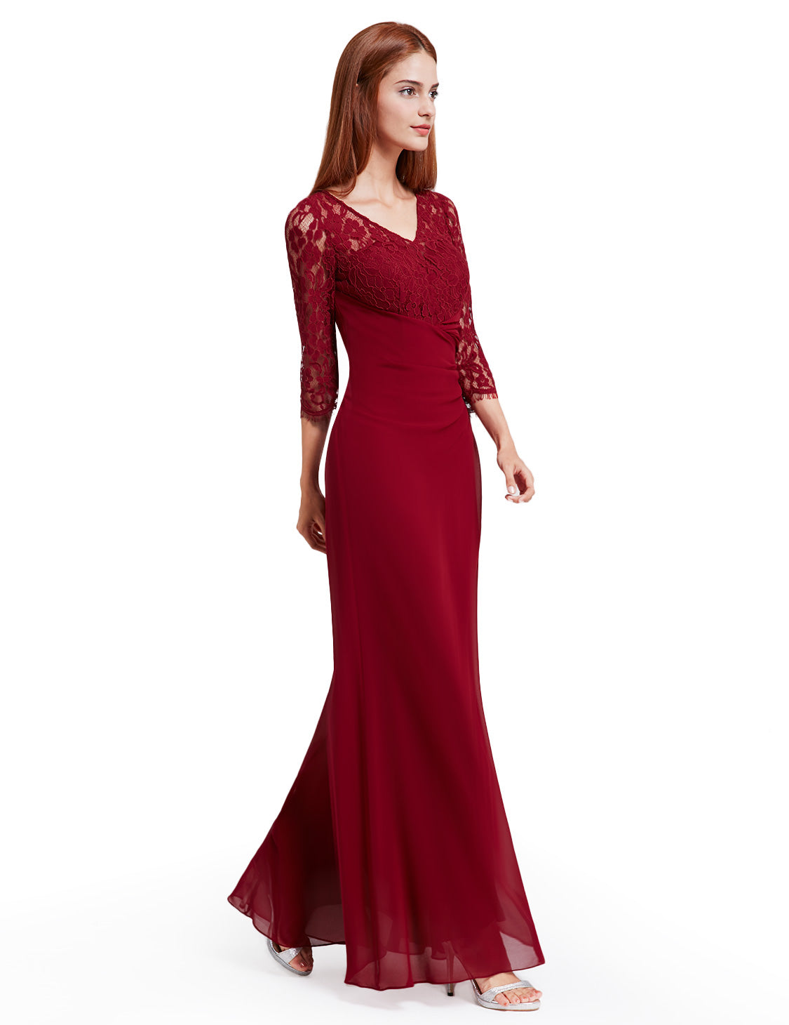 Obeige Elegant Half Sleeve Long Evening Party Dress