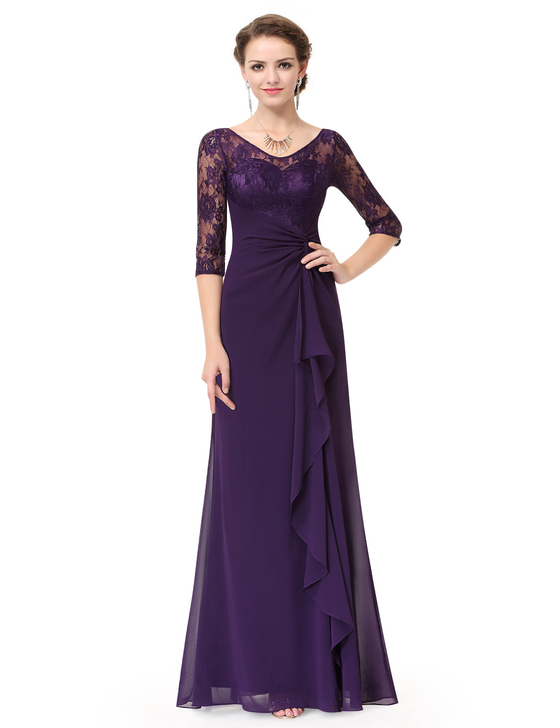 Obeige Elegant Purple V-neck Half Sleeve Evening Party Dress