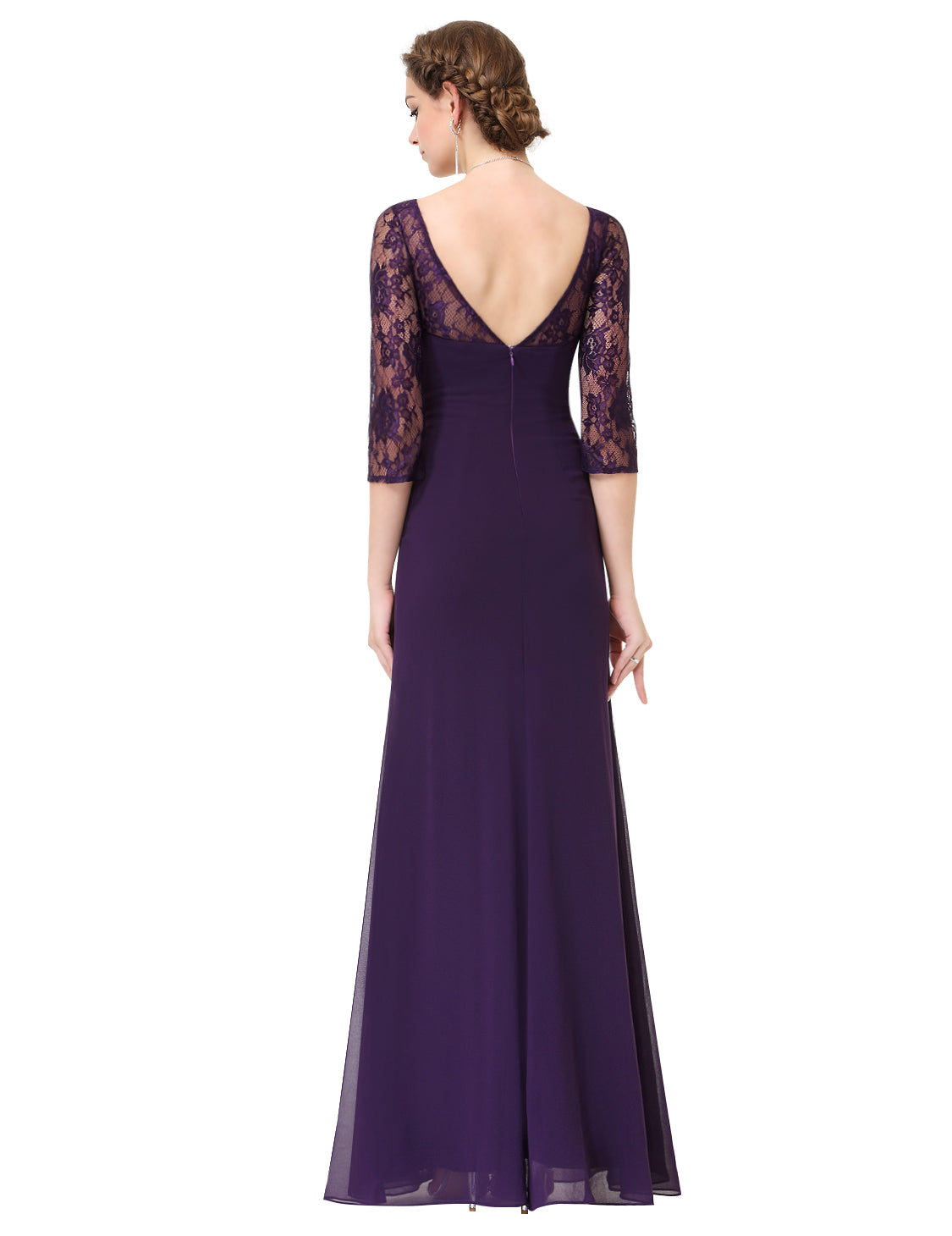Obeige Elegant Purple V-neck Half Sleeve Evening Party Dress - O'beige