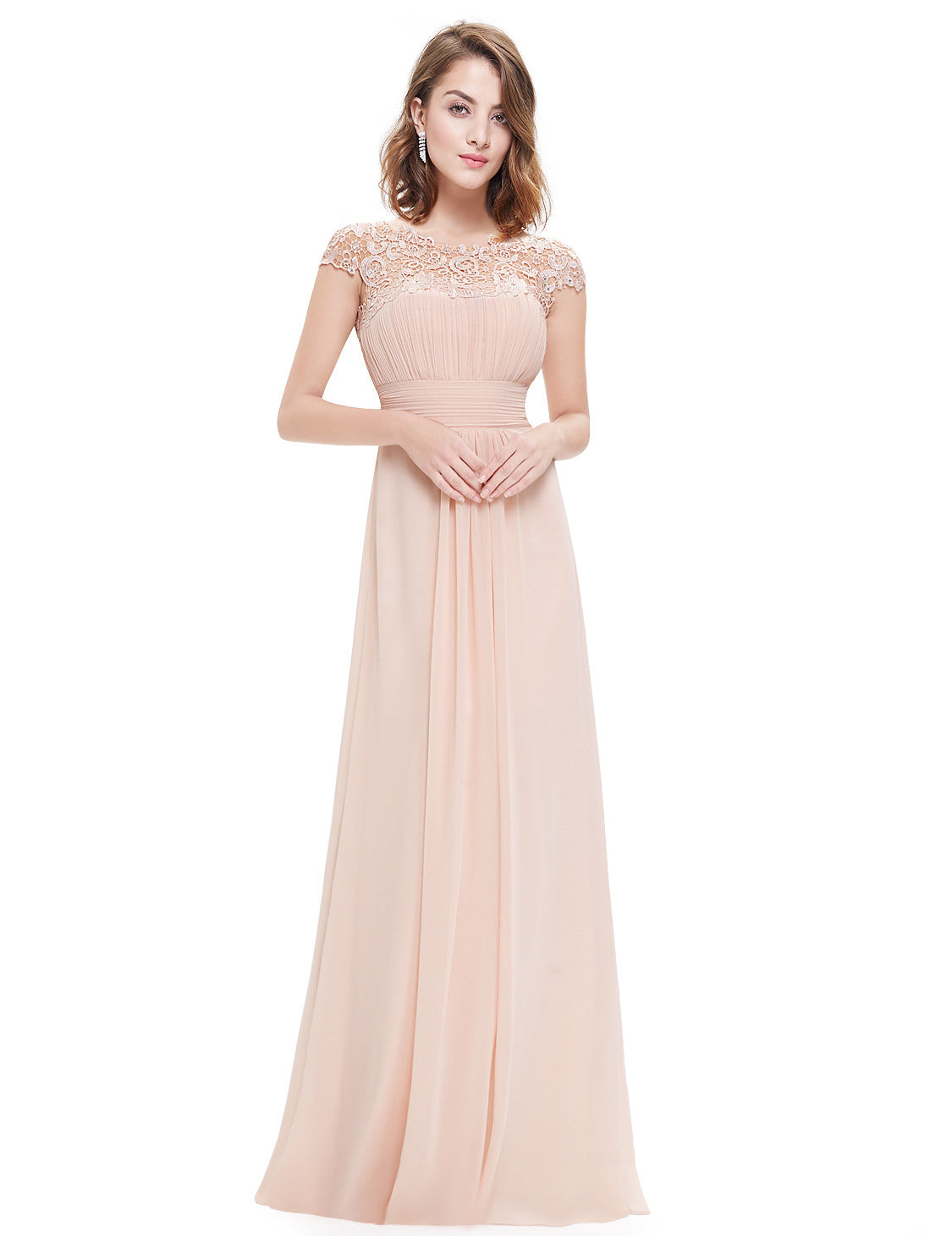 Obeige Cap Sleeve Lace Neckline Ruched Bust Evening Gown