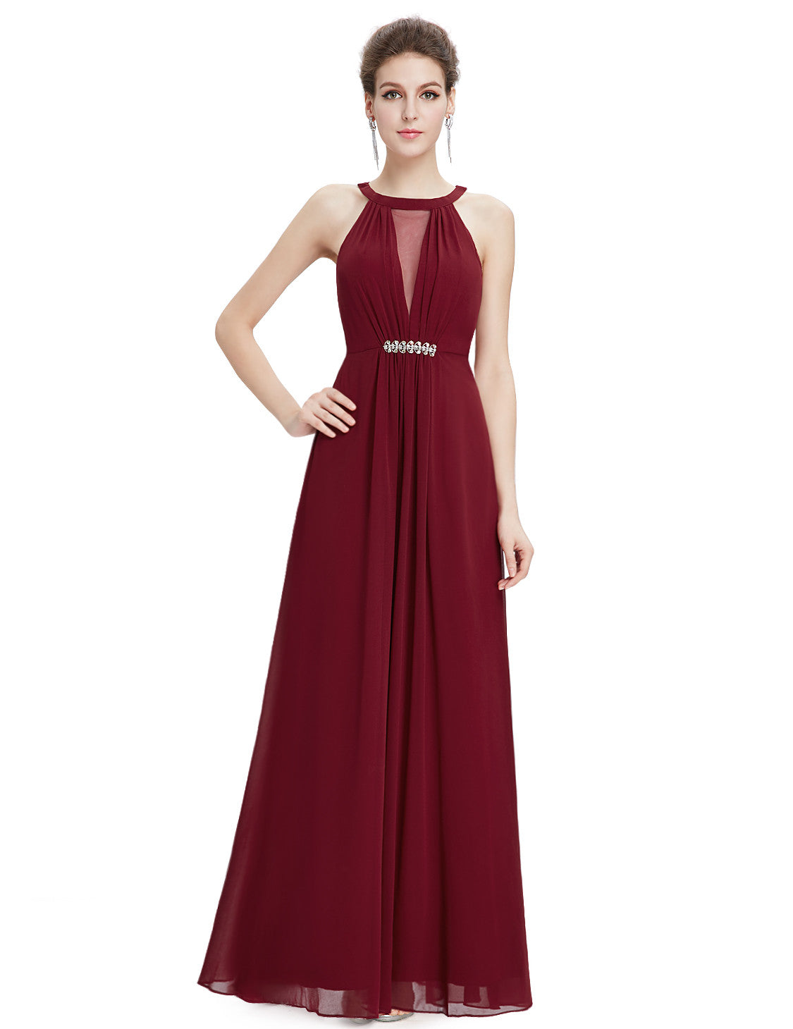 Burgundy Sleeveless Maxi Evening Dress