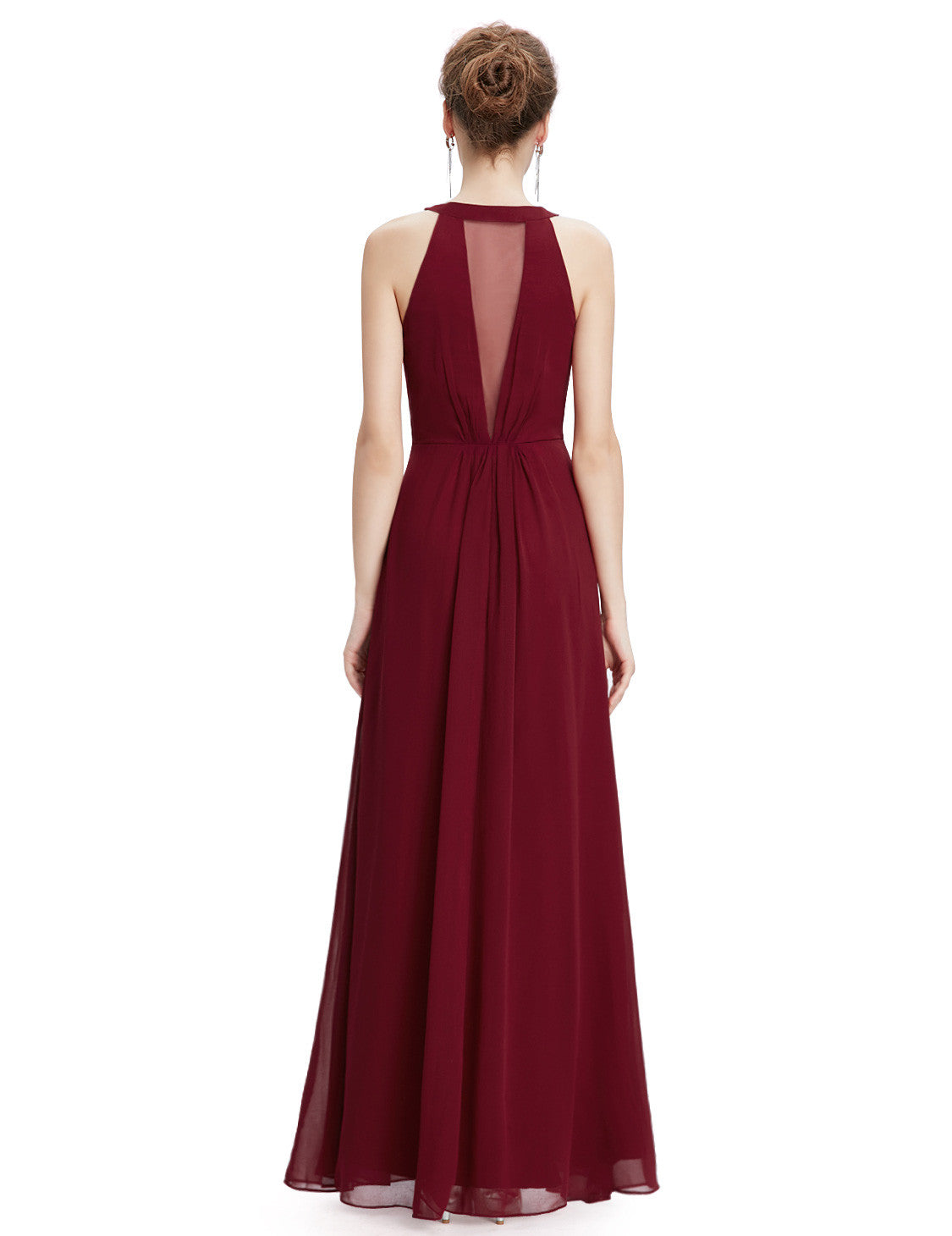 Burgundy Sleeveless Maxi Evening Dress - O'beige