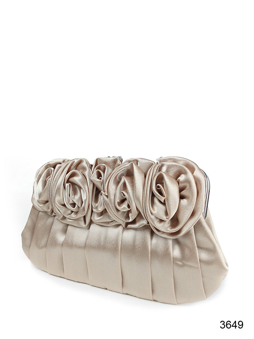 Khaki Satin Flowers Shoulder & Hand Evening Clutch Bag
