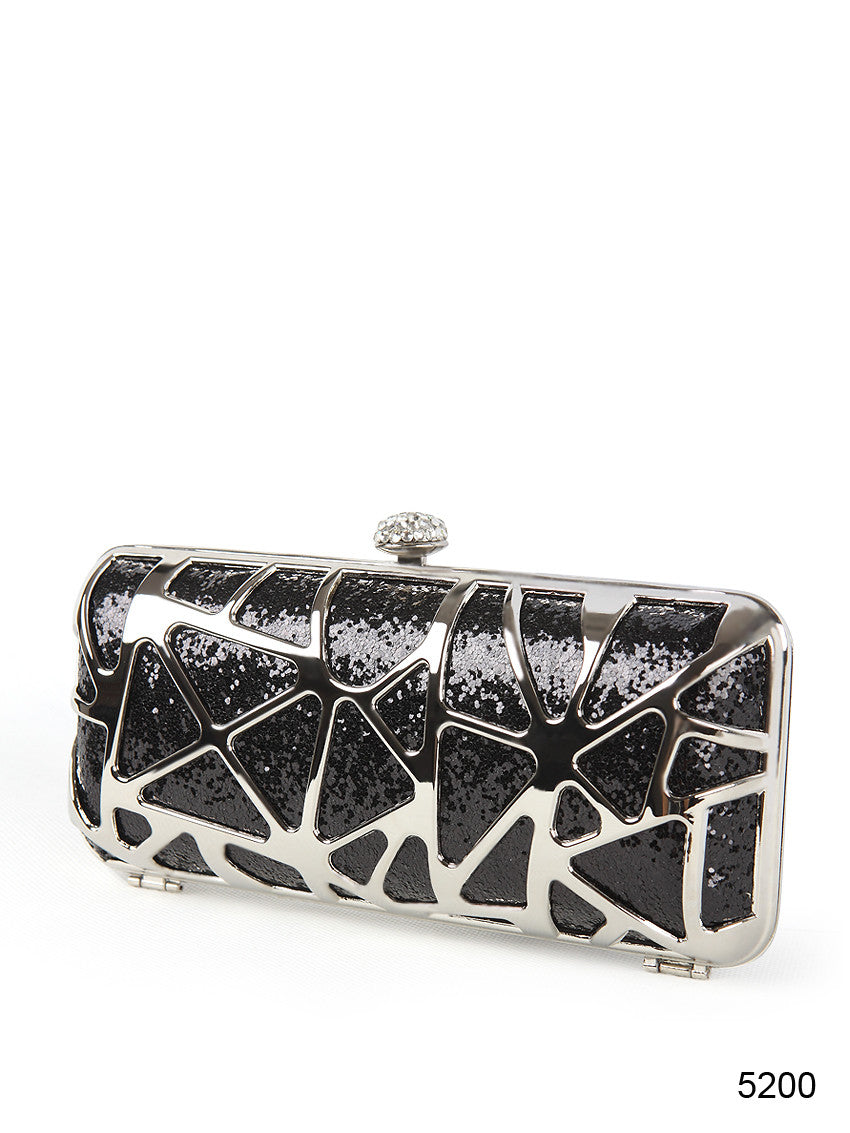Sequins Metal Rhinestone Black Clutch Evening Bag