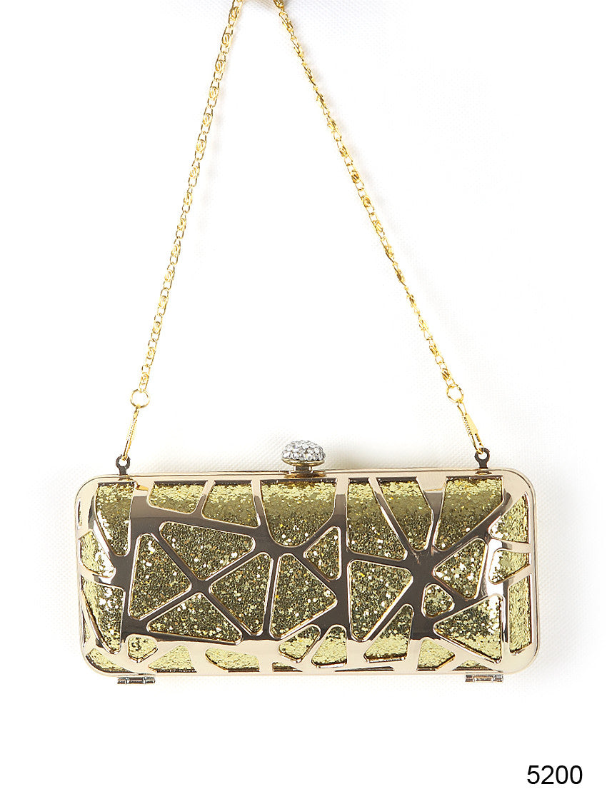 Sequins Metal Rhinestone Gold Clutch Evening Bag - O'beige