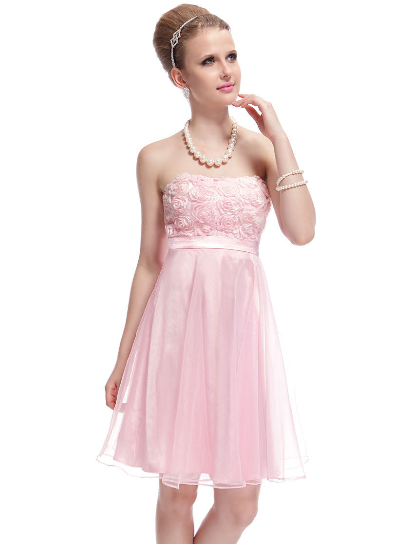 Strapless Pink Flower Padded Dress