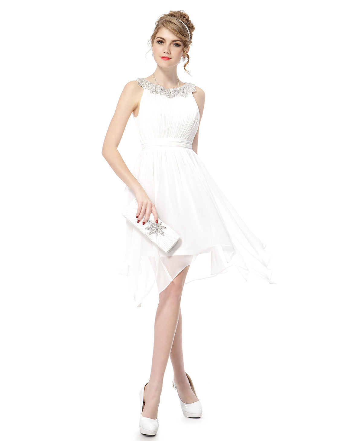 Rhinestone Round Neck White Hi-low Short Party Dress