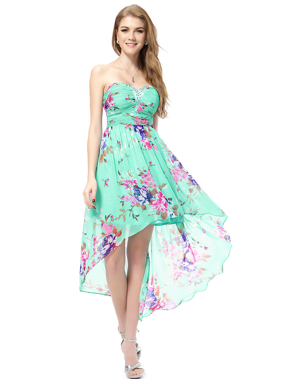 Blue Strapless Neckline Floral Print Hi-low Dress