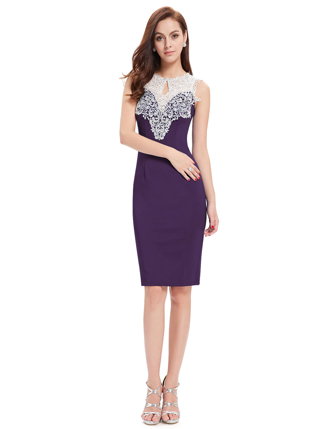 Obeige Purple Sleeveless Lace Short Party Dress