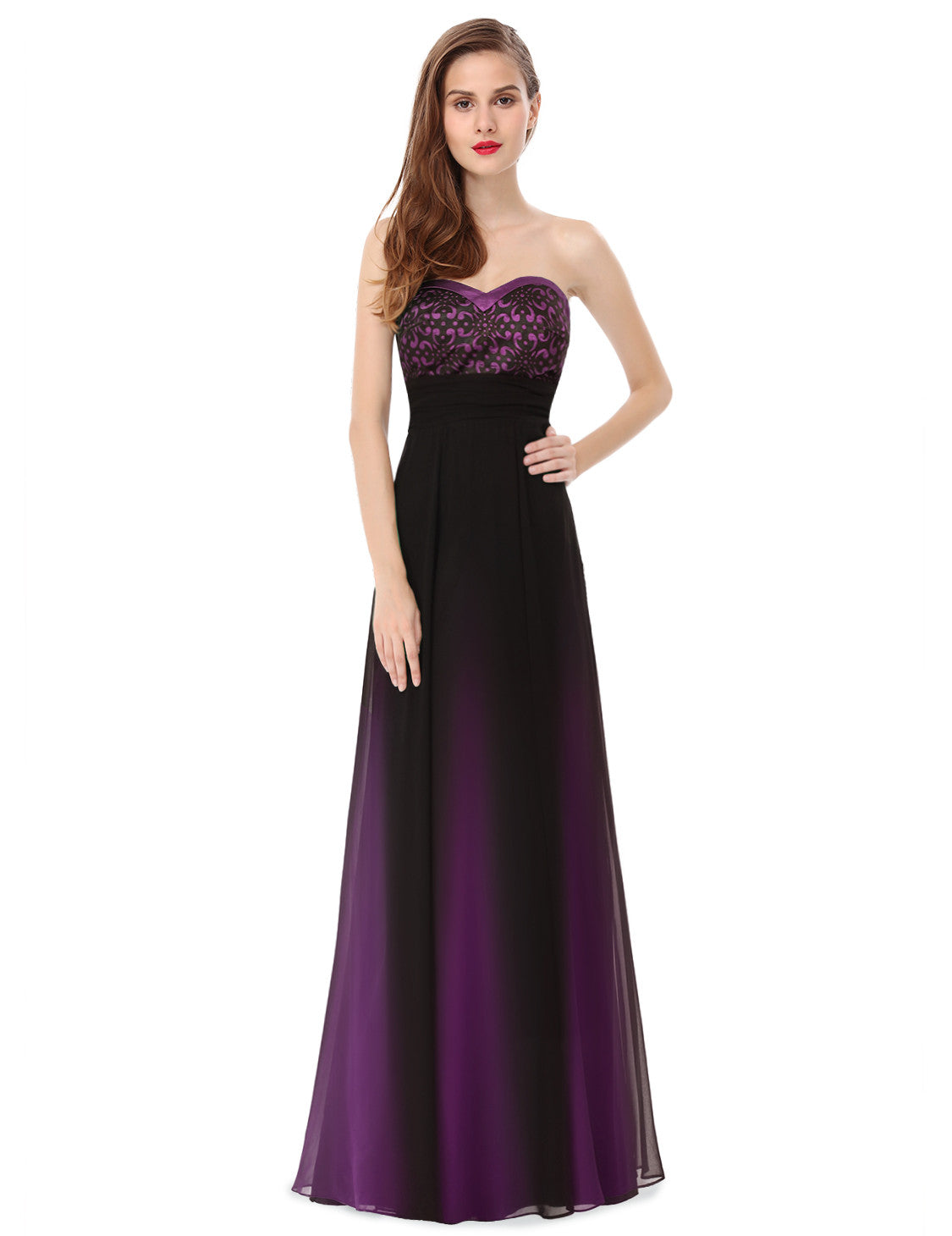 Obeige Mystical Purple Elegant Strapless Long Evening Dress - O'beige