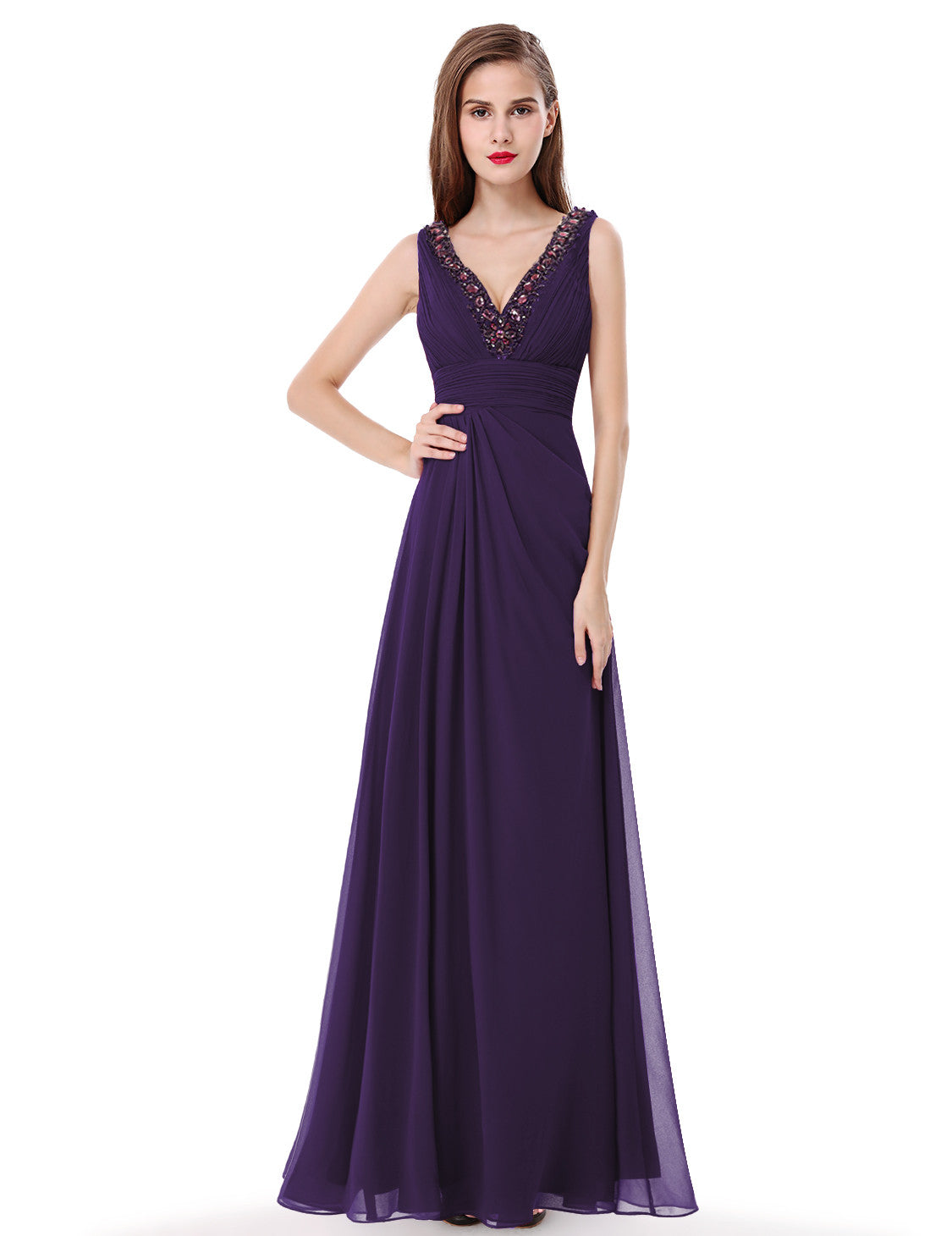Obeige Sexy Purple Double V-neck Rhinestone Long Party Dress