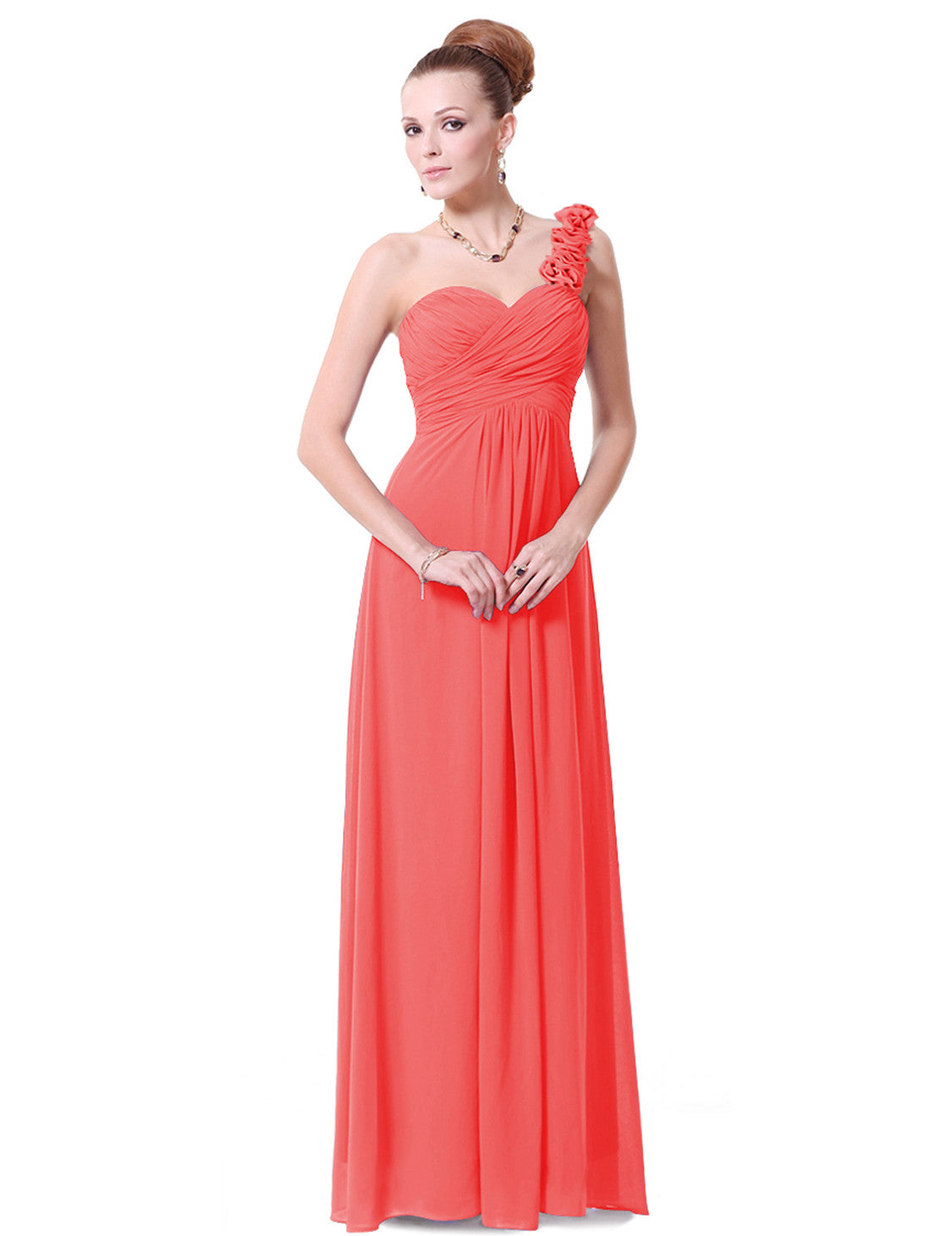 One Shoulder Chiffon Evening Dress