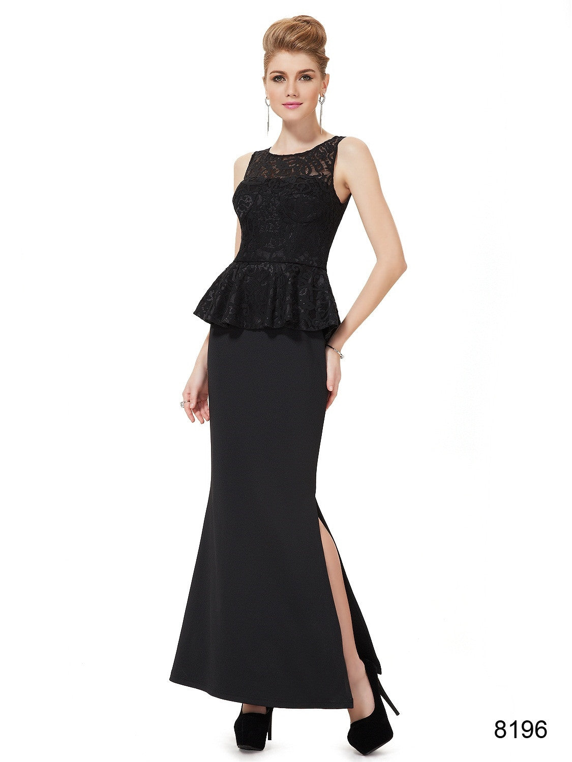 Sleeveless Black Evening Dress - O'beige