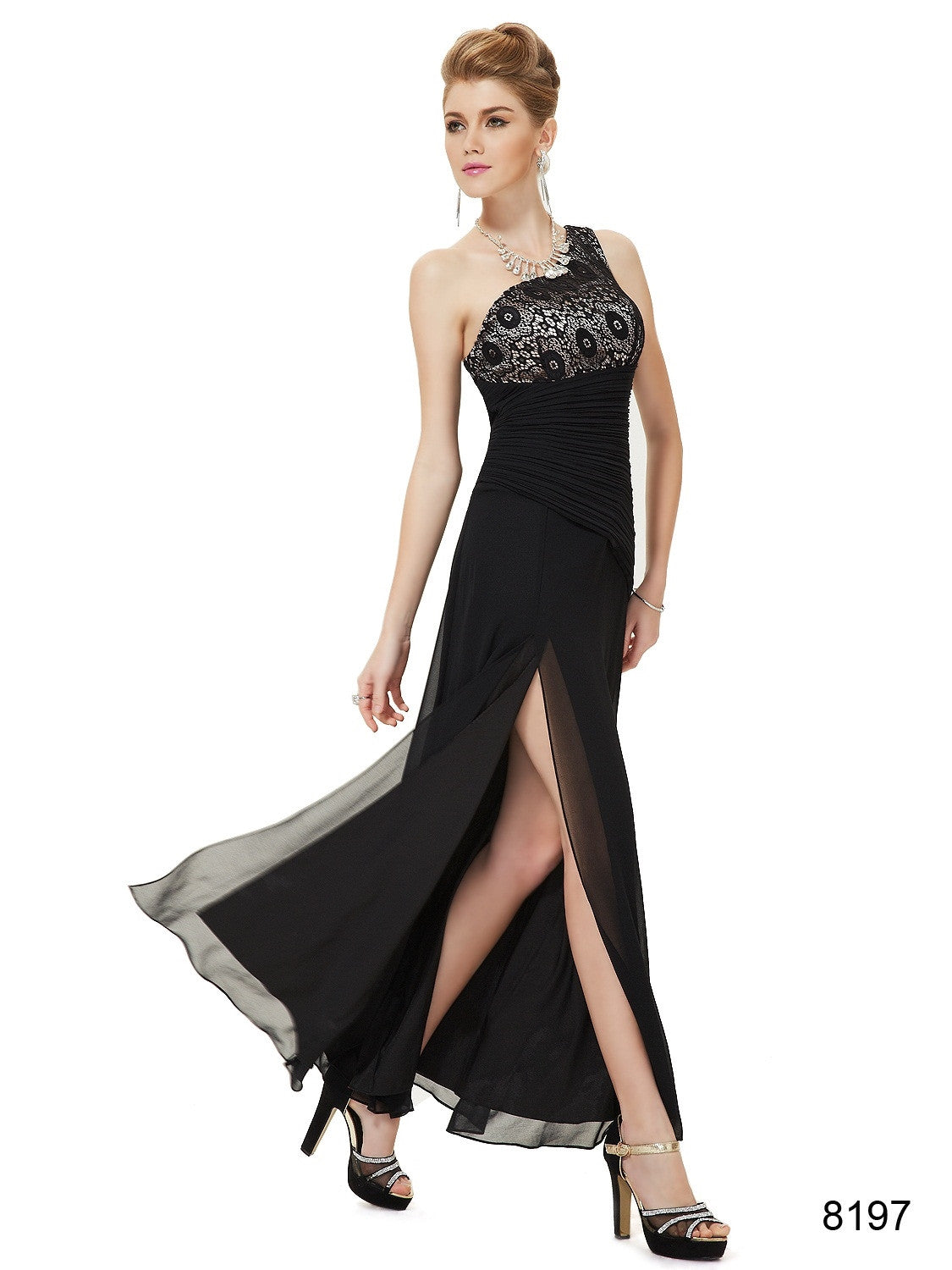 One Shoulder Slitted Black Dress - O'beige