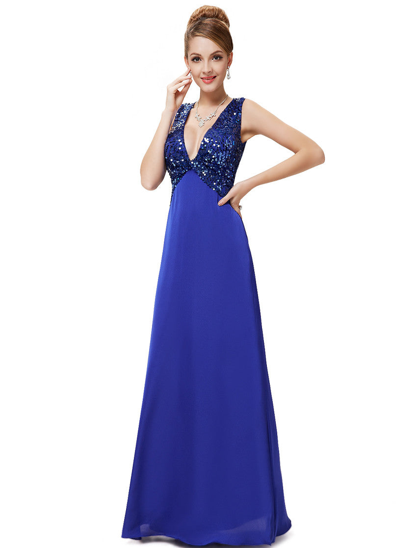 Blue V-neck Maxi Dress