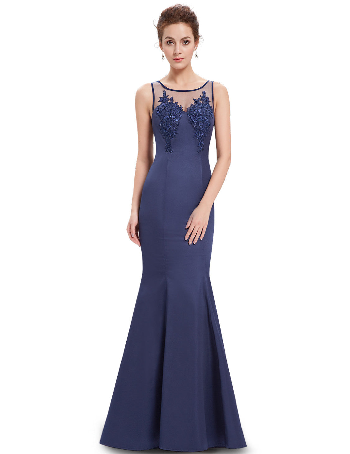 Navy Blue Round Neck Mermaid Maxi Dress